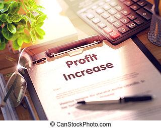 Clipboard with Profit Increase Concept. 3D. - Profit...