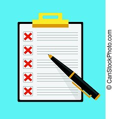 Clipboard with red crosses check list marks with pen. Vector flat cartoon illustration