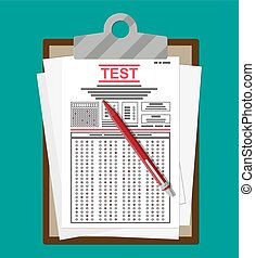 Clipboard with survey or exam forms and pen. Answered quiz...