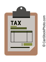 clipboard with tax document vector illustration design
