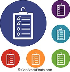 Clipboard with to do list icons set in flat circle reb, blue...