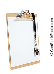 Clipboard with whistle on a white background