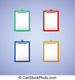 Clipboard with white sheet of paper
