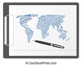 clipboard world map