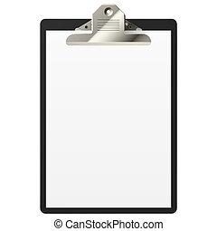 clipboard, z, czysty, papier