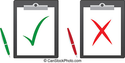 Clipboard with green checkmark and red x