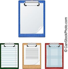 Clipboards with blank paper