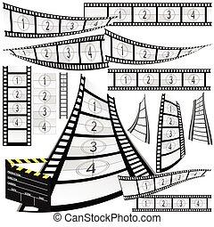clipper, film, vettore, striscia cinematografica