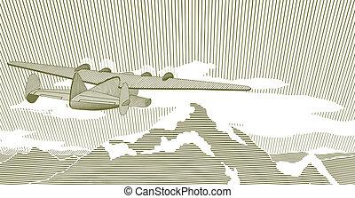 clipper, scena, woodcut