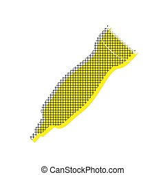 Clipper sign illustration. Vector. Yellow icon with square patte