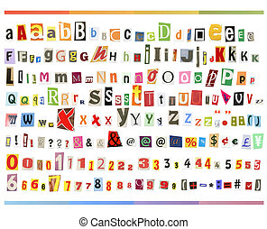 Clipping ABC - Clipping alphabet (cutout from newspapers and...