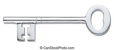 (clipping, ajtó, elszigetelt, kulcs, fehér, path), ezüst