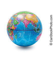 (Clipping path) World globe isolated on white background