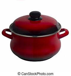 (clipping, pot, vrijstaand, rode achtergrond, witte , path), pan, keuken
