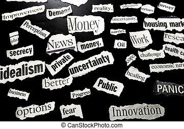 clippings, titular, actuación, acontecimiento, corriente, ...