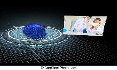 clips, montage, recherche, m, monde médical