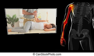 Clips of woman getting physiotherapy on balck digital...