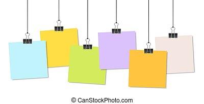 clips, relieur, papiers colorés