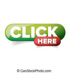 clique, botão, vetorial