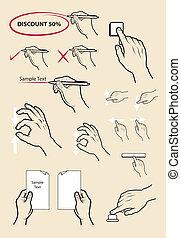 clique, jogo, mão, Escreva, correio, sinais