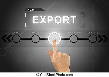 cliqueter, bouton, main, exportation, interface, écran
