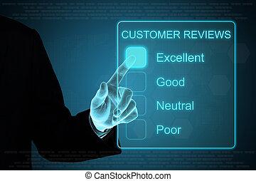 cliqueter, business, toucher, réaction, écran, main, client, revue