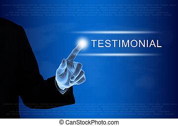 cliqueter, business, toucher, testimonial, écran, main, bouton