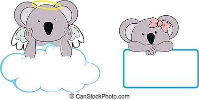 clo, ängel, utrymme, koala, flicka, avskrift, unge