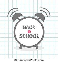 cloack, 練習, 平ら, 警報, ペーパー, 本, school., 学校, シート, テキスト, 背景, 背中, チョーク, デザイン