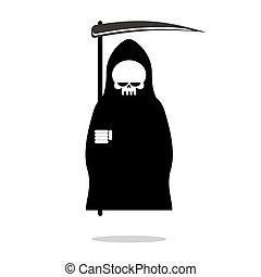 cloak., 死, 頭骨, halloween., clothes., 暗い, 刈り取り機, 黒, scythe., 厳格, フード, アイコン