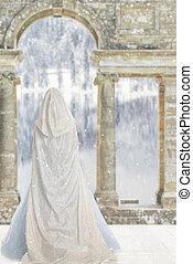 cloaked, mulher, por, castelo, lago