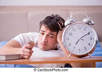 cloc, 警報, 不眠症, ベッド, 苦しみ, 失望させられた, 人