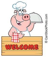 cloche, 大淺盤, 拇指, 木制, 在上方, 字, 向上, 簽署, 廚師, 給, 豬, 卡通, 吉祥人