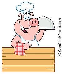 cloche, 豬, 拇指, 木制, 在上方, 字, 向上, 簽署, 廚師, 給, 吉祥人, 大淺盤, 卡通, 愉快