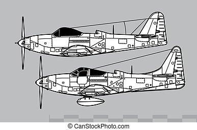 cloche, contour, vecteur, dessin, p-63d-e, kingcobra.