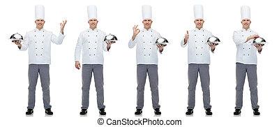 cloche, cozinheiro, segurando, cozinheiro, macho, feliz