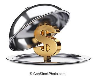 cloche, deckel, gold, gasthaus, dollarzeichen, rgeöffnete