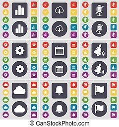 cloche, diagramme, microphone, ensemble, coloré, plat, grand, engrenage, symbole., notification, boutons, nuage, drapeau, calendrier, vecteur, design., ton, icône