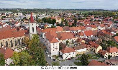 cloche, district, tchèque, strakonice, pittoresque, blatna, toits, paysage, république, en ville, tour, rougeâtre, gothique, maisons, ancien, automne