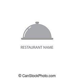 cloche, flat., restaurante, camarero, símbolo, aislado,...