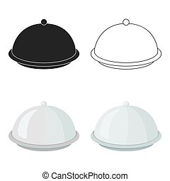 Cloche icon in cartoon style isolated on white background. Hotel symbol stock vector illustration.