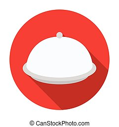 Cloche icon in flat style isolated on white background. Hotel symbol stock vector illustration.