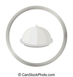 Cloche icon in monochrome style isolated on white background. Hotel symbol stock vector illustration.