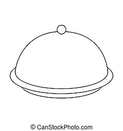 Cloche icon in outline style isolated on white background. Hotel symbol stock vector illustration.