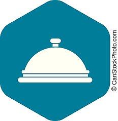 cloche, icono, estilo, simple, restaurante
