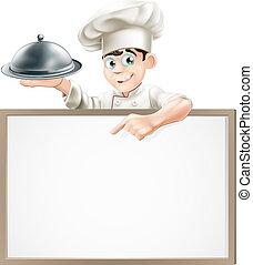 cloche, menu, chef cuistot, dessin animé