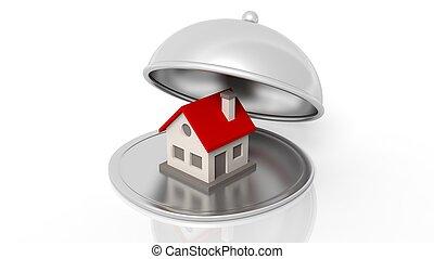 cloche, restaurant, maison, isolé, symbole, arrière-plan., blanc, argent