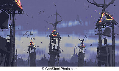 cloche, sonner, gens, voler, ciel, contre, tour, oiseaux