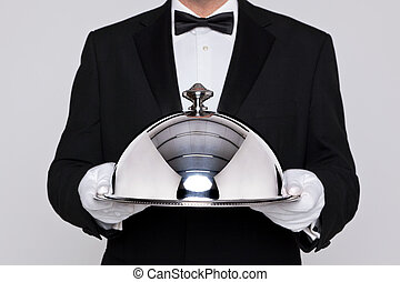 cloche, tenencia, camarero, plata