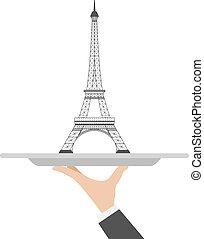 cloche, torre, eiffel, restaurante
